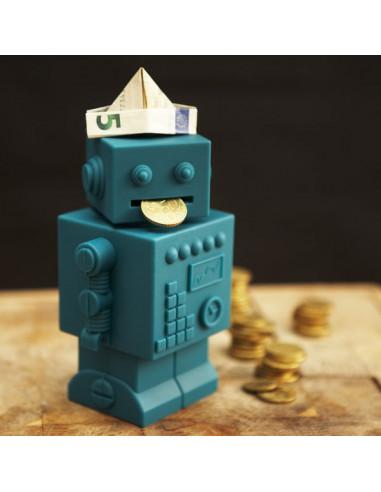 Tirelire robot bleu lagon - KG Design