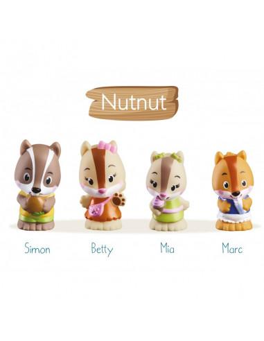 4 personnages famille écureuil Nutnut...