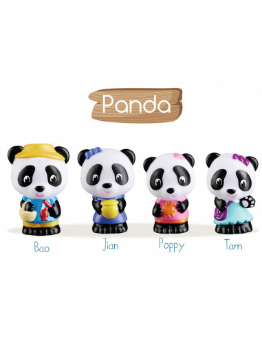 4 personnages famille Panda Klorofil