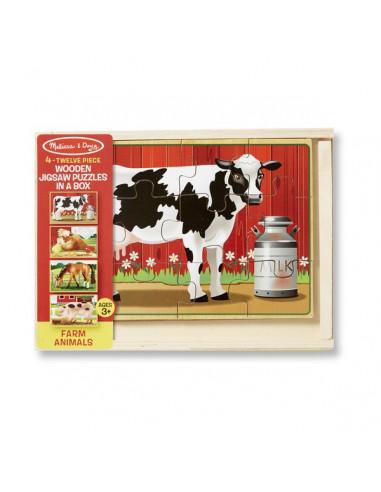 4 puzzles en bois animaux de la ferme...