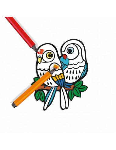 Bébés oiseaux coloriage velours - Djeco