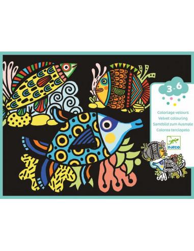 Jolis poissons coloriage velours - Djeco