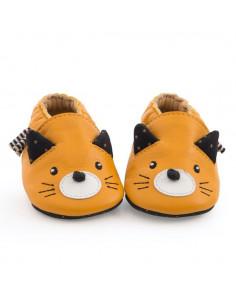 Chaussons cuir chat moutarde Les moustaches 0/6 m