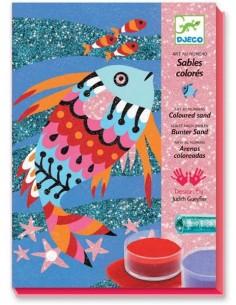 Sables colorés avec paillettes poissons