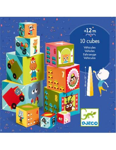 Cubes à empiler véhicules - Djeco