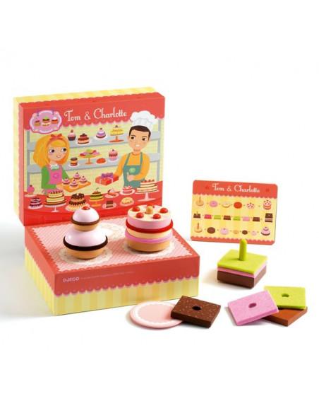 Dinette en Bois Jouet en Bois Tooky Toy Etag/ère /à gateaux en Bois Jeux de Simulation Cuisine Jeu dimagintation Jeu de Cuisine Enfant Jouet pour Enfant