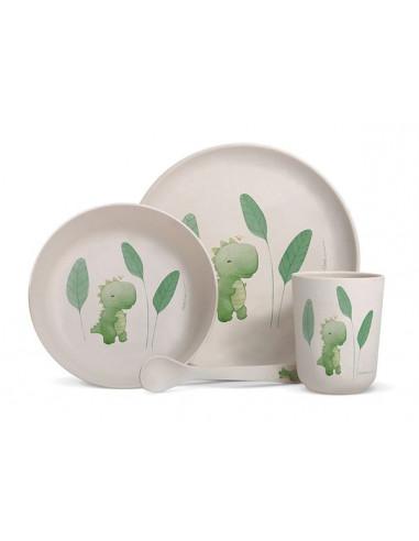 Coffret vaisselle bambou dinosaure