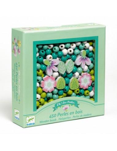 Perles en bois feuilles et fleurs -...