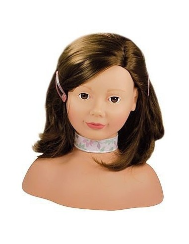 Tête à coiffer et à maquiller brune -...