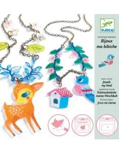 """Bijoux plastique magique """"le faon et l'oiseau"""""""
