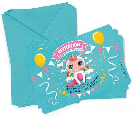 Carton d'invitation sur le thème des licornes
