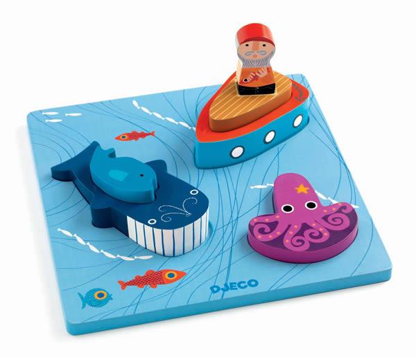 Puzzle bois 1,2,3 Moby - Djeco