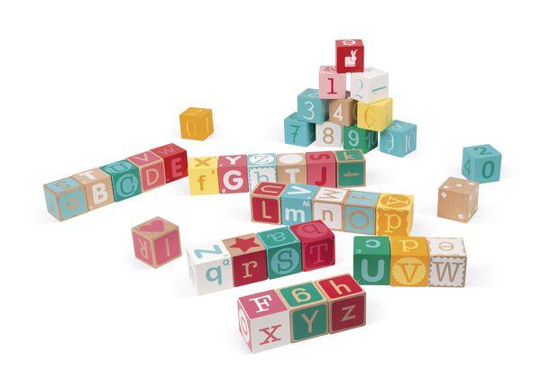 Kubix 40 Cubes lettres et chiffres - Janod