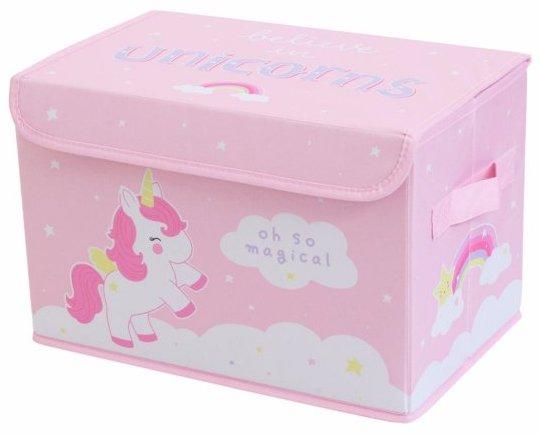 Coffre à jouets rose avec licorne