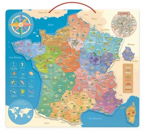 Puzzle magnetique Carte de France de Vilac