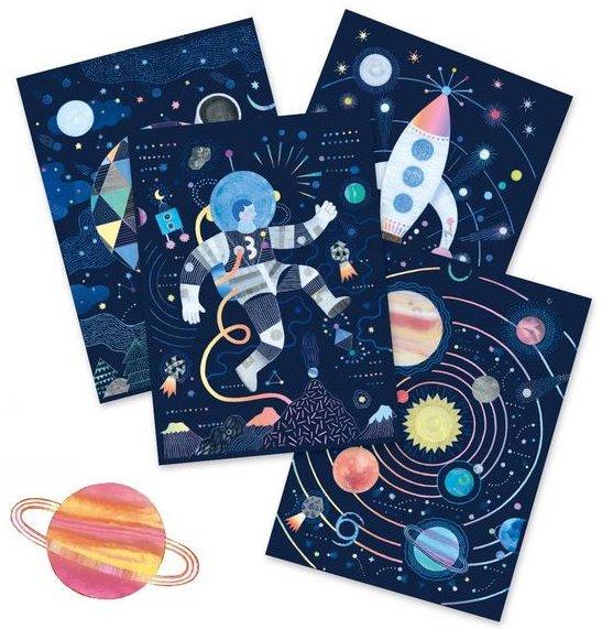 Carte à gratter sur le thème de l'espace