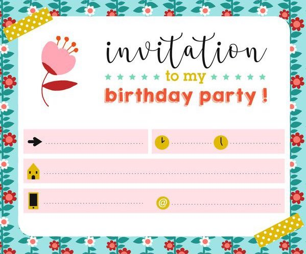 Invitation pour l'anniversaire d'un enfant