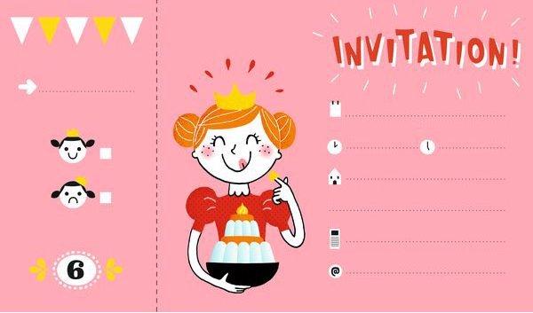Invitation rose pour l'anniversaire d'une petite fille