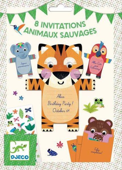 Invitatiion pour anniversaire d'enfant animaux sauvages