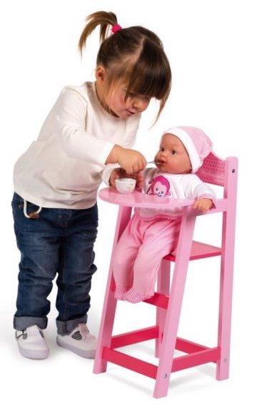 Chaise haute en bois rose pour jouer à la poupée