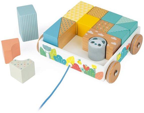 Chariot de cubes en bois à empiler pour les enfants