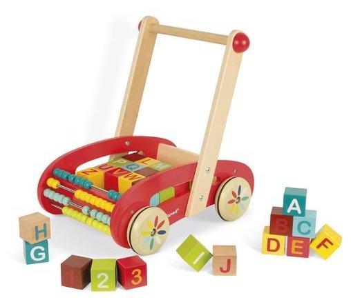 Chariot de marche avec des cubes illustrés pour bébé