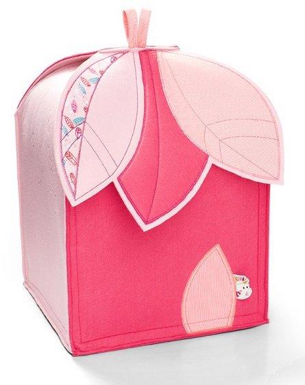 Coffre à jouets rose en tissu pour les enfants