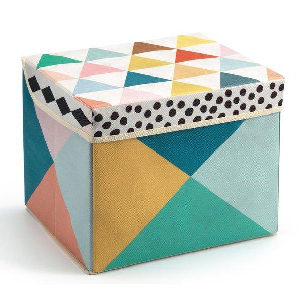 Coffret à jouets scandinave motifs géométriques