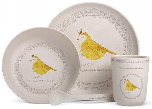Coffret vaisselle bambou oiseau