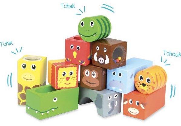Cubes sensoriels en bois pour bébé