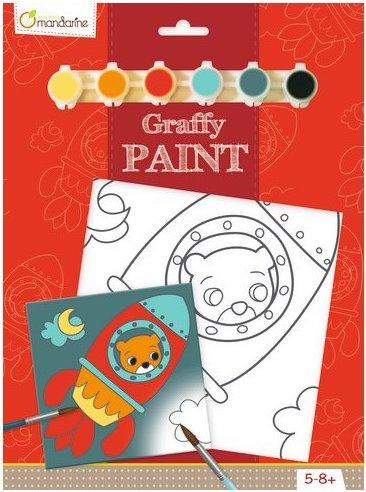 Toile à peindre pour enfant sur le thème fusée