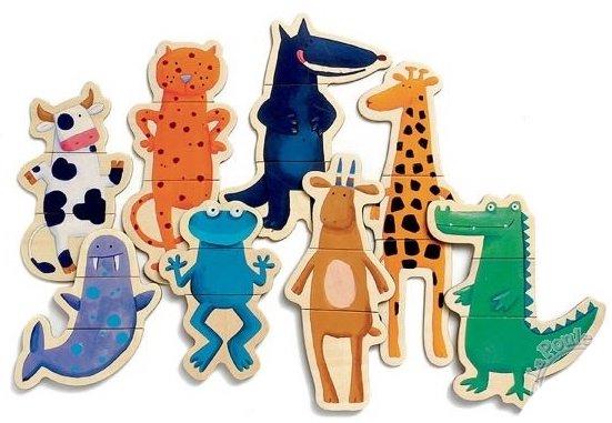 Magnets en bois avec des animaux pour les enfants
