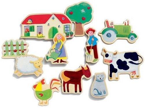 Magnets de bois sur le thème de la ferme