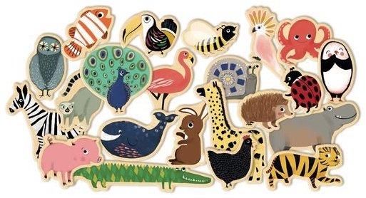 Magnets en bois en forme d'animaux pour les enfants