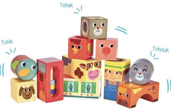 Cubes sonores en bois pour les bébés
