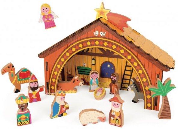 Crèche en bois pour décorer le sapin de Noël