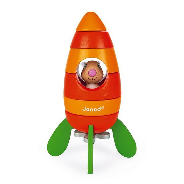 Jouet en bois en forme de fusée