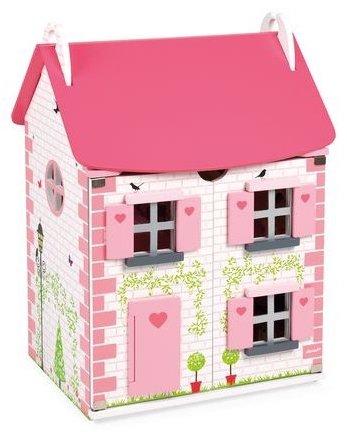 Maison en bois rose pour jouer à la poupée