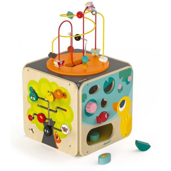 Cube d'activité en bois et jouet d'éveil pour bébé
