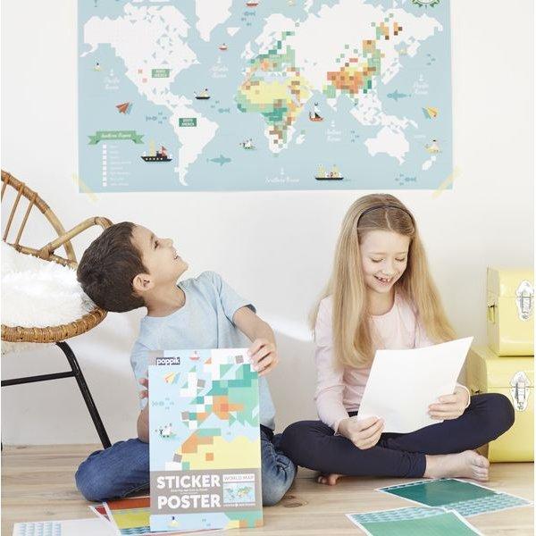 Mosaique de couleur représentant la carte du monde