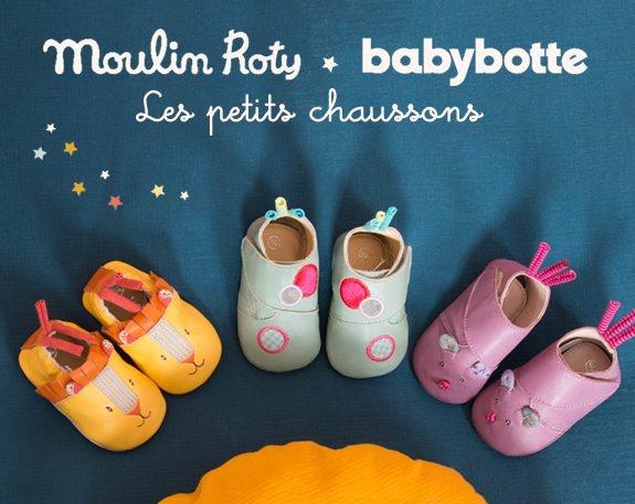 Chaussons en cuir pour bébé Moulin Roty et Babybotte