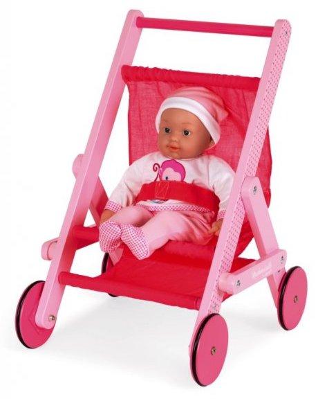Poussette rose pour jouer à la poupée