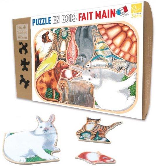 Puzzle en bois avec des animaux pour les enfants de 3 ans