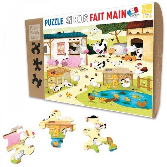 Puzzle en bois original sur le thème de la ferme