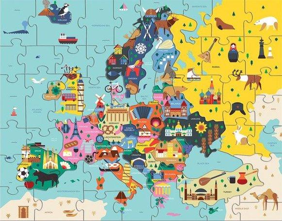 Puzzle avec les pays d'europe pour les enfants dès 5 ans