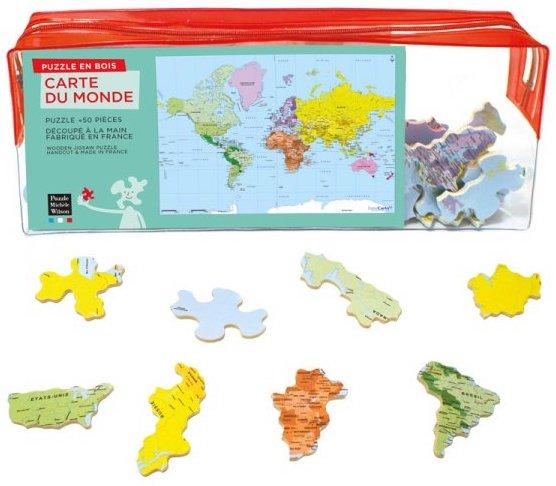 Puzzle en bois Carte avec les pays du monde