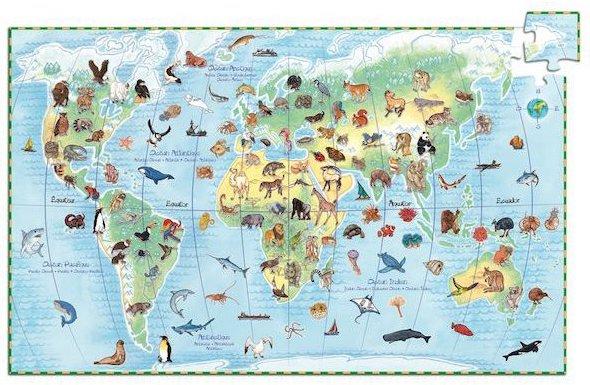 Puzzle de la carte du monde avec les espèces animales