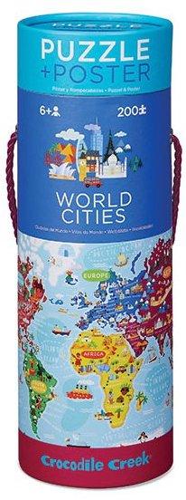 Puzzle du monde avec les grandes villes