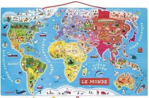 Puzzle magnétique Carte du monde de Janod