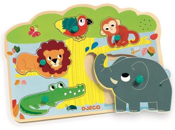 Puzzle sonore avec les animaux de la jungle